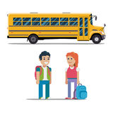 Children get on school bus. Vector flat illustration Stock Photo