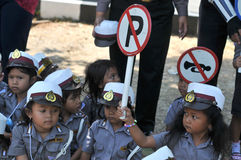 The children get to know the profession of police Stock Images