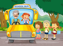 Children getting on school bus Royalty Free Stock Photography