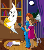 Children and a ghost royalty free illustration