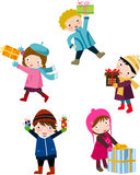 Children and gift box. Illustration of children and gift box Stock Images