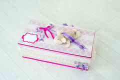Children gift box made by hand Stock Photography
