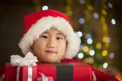 Children are a gift received from Santa Stock Photography