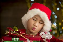 Children are a gift received from Santa Royalty Free Stock Image