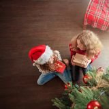 Children with gift under christmas tree stock photos