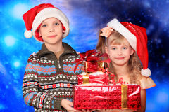 Children with gifts Stock Photography
