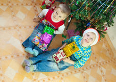 Children with gifts Royalty Free Stock Photography