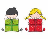 Children with gifts Royalty Free Stock Photo