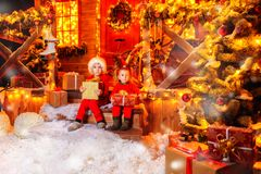 Children with gifts stock images