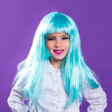 Children girl with blue turquoise long wig royalty free stock images