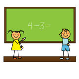 Children girl and boy beside blackboard Royalty Free Stock Images