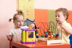 Children play before they see the doctor Stock Photo