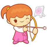 Children girl korean traditional Archery games.  Education and l Royalty Free Stock Image