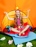 Children girl playing inside camping tent. Girl playing with balls inside camping tent similing happy royalty free stock image