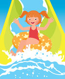 Children girl playing in water park in summer Stock Photo