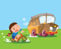 Children girl ride bicycle uptight Royalty Free Stock Photo