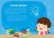 Girl thinking idea. Children girl thinking idea and books.Cute kid imagine in classroom with space for your text.education concept with  books background Stock Photography