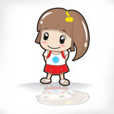 Children girl in white background. Baby girl with red dress in white background Royalty Free Stock Photo