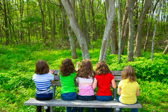 Children girls sitting on park bench looking at forest. Children sister and friend girls sitting on park bench looking at forest rear view Royalty Free Stock Photos