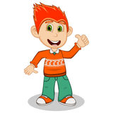 Children give thumbs up wearing orange long sleeve sweater and green trousers cartoon  Stock Photo