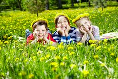 Children on glade Royalty Free Stock Image