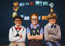 Children with glasses and school education graphic drawings Royalty Free Stock Photos