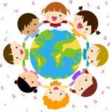 Children and globe. Illustration of children and globe royalty free illustration