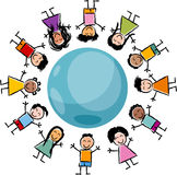 Children and globe cartoon illustration. Cartoon Illustration of Happy Multicultural Children around the Globe Royalty Free Stock Photos