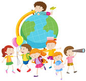 Children and the globe Stock Image