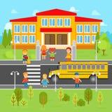 Children go back to school vector flat illustration. School bus, kids infographic elements. Royalty Free Stock Photo