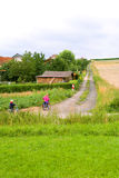 Children go on the field road Stock Photography