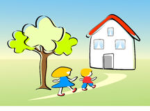 Children go home happy. Two children, a girl and a boy run joyfully to the house. Are you in the garden. It's spring vector illustration