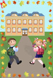 Children go in school. Cheerful pupils to go in school on road. The sound of a bell, welcome to a lesson. A frame with a leaf fall. Vector illustration a Royalty Free Stock Photo