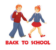 Children go to school. Back to school.  the boy and the girl go to school Stock Photo