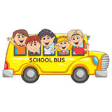 Children go to school by bus cartoon Royalty Free Stock Photography