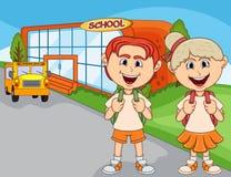 Children go to school cartoon Royalty Free Stock Photography