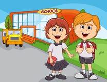 Children go to school cartoon Royalty Free Stock Image