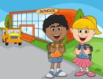 Children go to school cartoon Stock Images