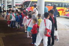 Children go to school in Hong Kong, shenzhen, they are through the shenzhen bay port Stock Photos