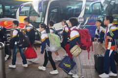 Children go to school in Hong Kong, shenzhen, they are through the shenzhen bay port Royalty Free Stock Photography
