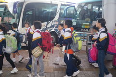 Children go to school in Hong Kong, shenzhen, they are through the shenzhen bay port Royalty Free Stock Photos