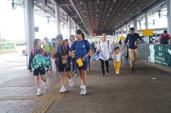 Children go to school in Hong Kong, shenzhen, they are through the shenzhen bay port Royalty Free Stock Image