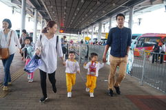 Children go to school in Hong Kong, shenzhen, they are through the shenzhen bay port Stock Images
