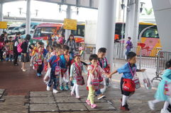 Children go to school in Hong Kong, shenzhen, they are through the shenzhen bay port Royalty Free Stock Images