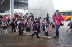 Children go to school in Hong Kong, shenzhen, they are through the shenzhen bay port Stock Photography