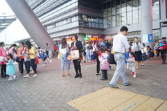 Children go to school in Hong Kong, shenzhen, they are through the shenzhen bay port Royalty Free Stock Photo