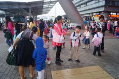 Children go to school in Hong Kong, shenzhen, they are through the shenzhen bay port Stock Image