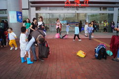 Children go to school in Hong Kong, shenzhen, they are through the shenzhen bay port Stock Photo