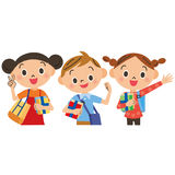 Children going to the private supplementary school. In three good friends Royalty Free Stock Image