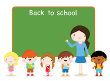 Children going to school and board. Chilldren going to school, teacher, classroom and education Stock Photography